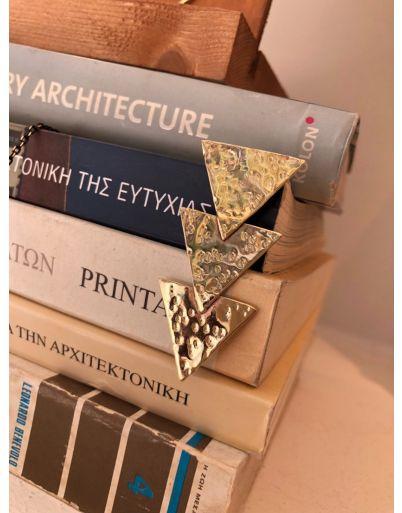 Σκουλαρίκι με σφυρήλατα τρίγωνα